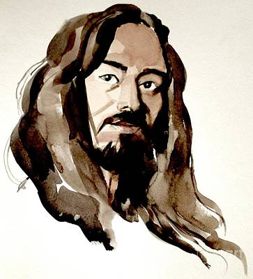 Painting - Watercolor Portrait Of A Man With Long Hair by Greta Corens
