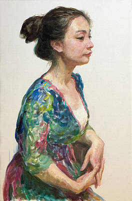 Painting - Portrait 2017b by Ji-qun Chen
