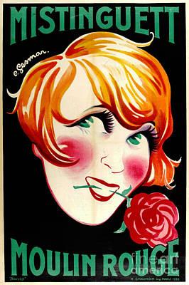 Photograph - Portrait Actress Mistinguett 1926 by Padre Art