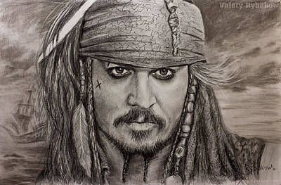 Portrait Captain Jack Sparrow Johnny Depp By Valery Rybakow Original