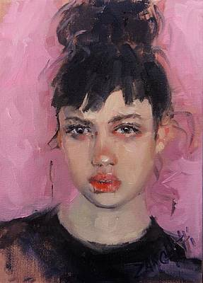 Painting - Portrait Demo by Laura Lee Zanghetti