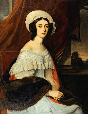 Rivets Painting - Portrait D'eugenie Gabrielle Barbou Des Courieres. Baronne Rivet by Alexandre-Marie Colin