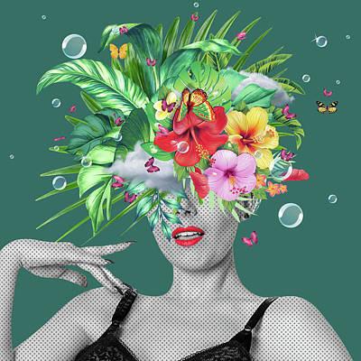 Cool Art Model Photograph - Portrait Floral  by Mark Ashkenazi