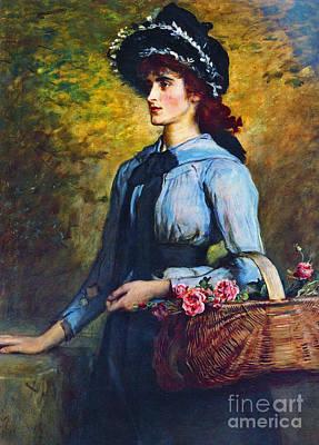 Photograph - Portrait Flower Girl 1892 by Padre Art