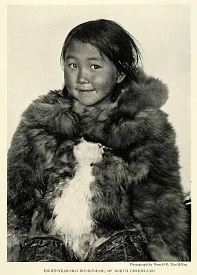 Painting - Portrait Girl Child Smith Sound Eskimo Tribe North Greenlan by Artistic Panda