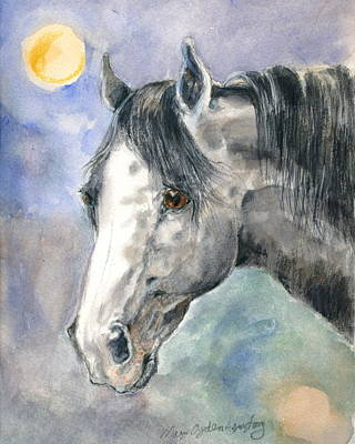 Art Print featuring the painting portrait Gray II by Mary Armstrong