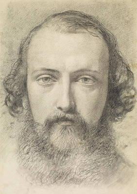 Portrait - Head Study Of Daniel Casey Art Print by Ford Madox Brown