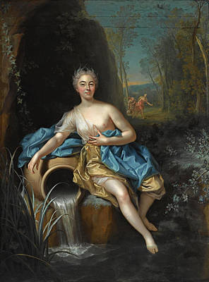 Jean Raoux Painting - Portrait Historie Of A Seated Lady Scarcely Clad And In The Guise Of A Nymph Near A Source In A Wood by Jean Raoux