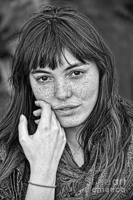 Photograph - Portrait Of A  Freckle Faced Model Black And White Version by Jim Fitzpatrick