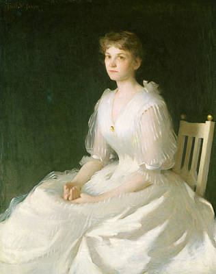 Portrait In White Art Print by Frank Weston Benson