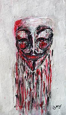 Occupy Painting - Portrait Melting Of Anonymous Mask Chan Wikileak Occupy Guy Fawkes Sopa Mpaa Pirate Lulz Reddit by M Zimmerman MendyZ