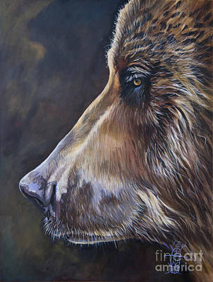 Painting - Portrait Of A Bear by J W Baker