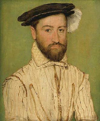 Beret Painting - Portrait Of A Bearded Gentleman, In A Black Beret With White Plumage by Corneille de Lyon