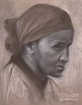 Drawing - Portrait of a Berber Woman by Jonathan Wommack