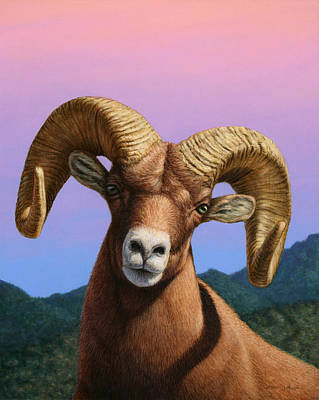 Rockies Painting - Portrait Of A Bighorn by James W Johnson