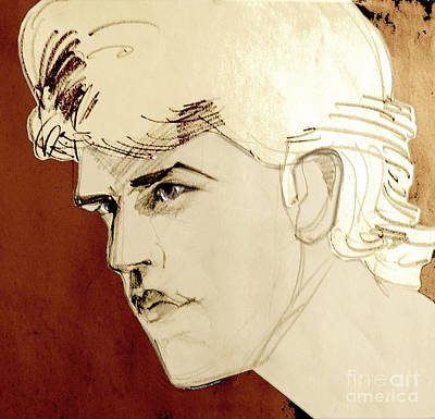 Mixed Media - Tinted Graphite Portrait Drawing Of A Blond Man by Greta Corens