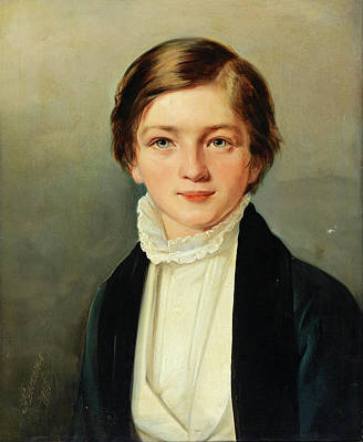 Painting - Portrait Of A Boy. Bruno Henneberg by Aristeidis Oikonomou