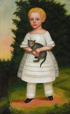 Portrait Of A Boy In A White Dress With Pantaloons Art Print