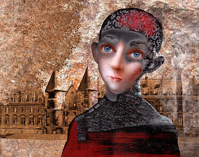 Portrait Of A Boy With A Castle In The Background. Art Print by Ilir Pojani