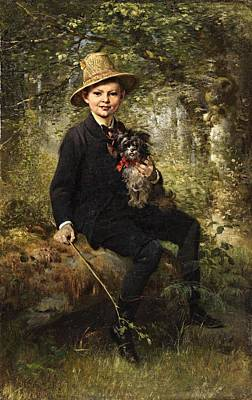 Portrait Of A Boy With A Dog In A Forest Art Print