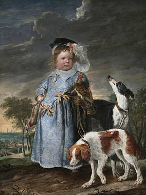 Painting - Portrait Of A Boy With A Falcon And Two Dogs by Jan Fyt