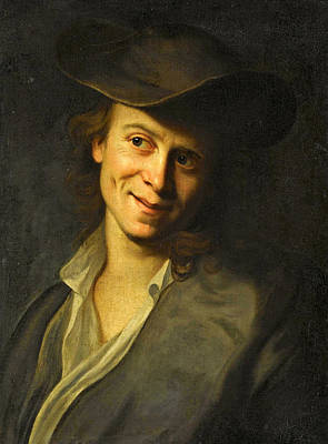 Portrait Of A Boy With Long Hair Half-length Wearing A Brown Hat Art Print