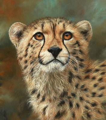 Painting - Portrait Of A Cheetah by David Stribbling
