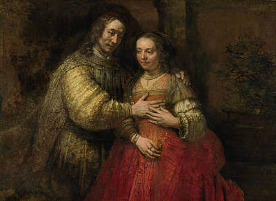 Rebecca Painting - Portrait Of A Couple As Issac And Rebecca Known As The Jewish Bridge by Rembrandt