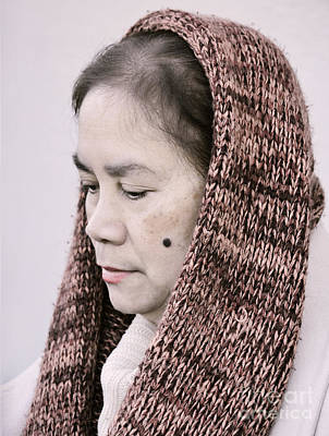 Portrait Of A Filipina With A Mole On Her Cheek And Wearing A Knitted Scarf  Art Print by Jim Fitzpatrick