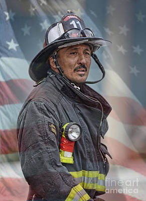 Photograph - Portrait Of A Fire Fighter II by Jim Fitzpatrick