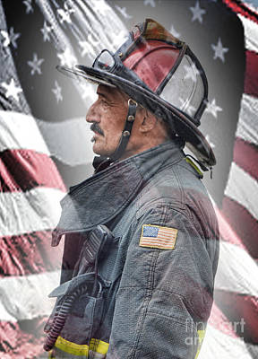 Photograph - Portrait Of A Fire Fighter by Jim Fitzpatrick