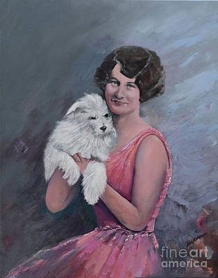 Painting - Maggie And Caruso -portrait Of A Flapper Girl by Jan Dappen