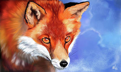 Digital Art - Portrait Of A Fox by Norman Klein