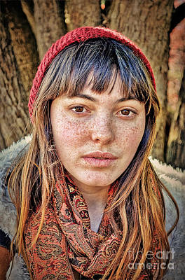 Photograph - Portrait Of A  Freckle Faced Model On A Cool Winter Afternoon by Jim Fitzpatrick