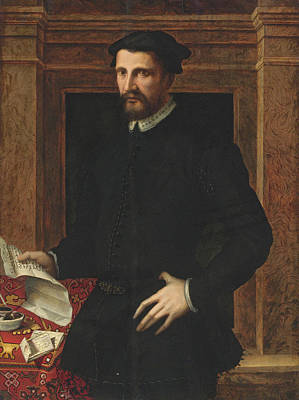 Painting - Portrait Of A Gentleman Three Quarter Length Holding A Letter by Attributed to Mirabello Cavalori