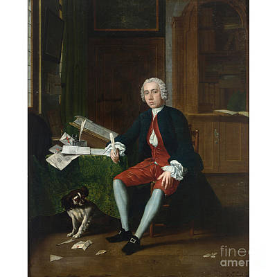 Portrait Of A Gentleman With His Dog In An Elegant Interior Print by Celestial Images