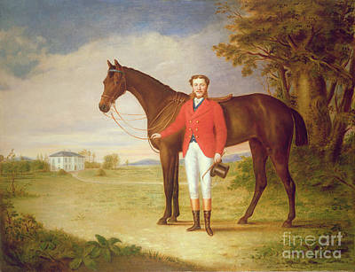 English Horse Painting - Portrait Of A Gentleman With His Horse by English School