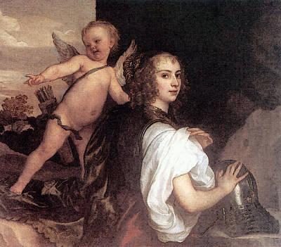 Digital Art - Portrait Of A Girl As Erminia Accompanied By Cupid  by Sir Antony van Dyck