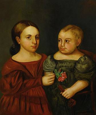 Portrait Of A Girl In A Red Dress Holding A Rose And A Boy In A Gray Dress Art Print by MotionAge Designs
