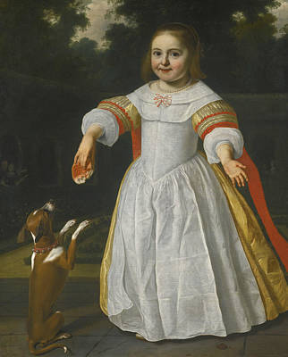 Painting - Portrait Of A Girl With A Bread-bun And A Dog by Bartholomeus van der Helst