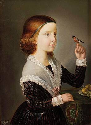 Bohemia Painting - Portrait Of A Girl With Bird And Fruit Plate by MotionAge Designs