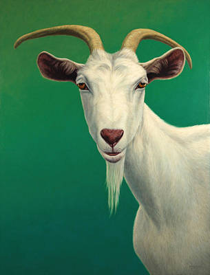 Green Painting - Portrait Of A Goat by James W Johnson