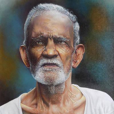 Portrait Of A Grandfather Art Print by Arun Sivaprasad