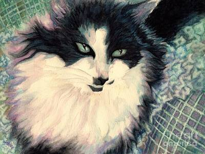 Quilt Portrait Painting - Portrait Of A Green Eyed Cat by Janine Riley