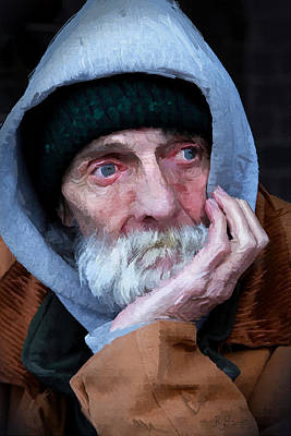 Digital Art - Portrait Of A Homeless Man by Kai Saarto