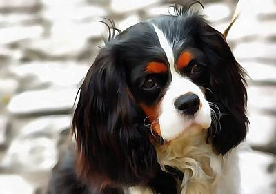 Painting - Portrait Of A King Charles Cavalier Spaniel by Tracey Harrington-Simpson