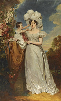 Harlow Painting - Portrait Of A Lady And Child by George Henry Harlow