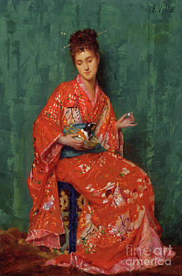 Japanese Silk Painting - Portrait Of A Lady by Emile Villa