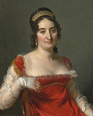 Langlois Painting - Portrait Of A Lady Half-length Seated Dressed In A Red Dress by Jerome-Martin Langlois