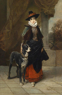 Painting - Portrait Of A Lady In A Historical Costume With A Mastiff by Friedrich August von Kaulbach
